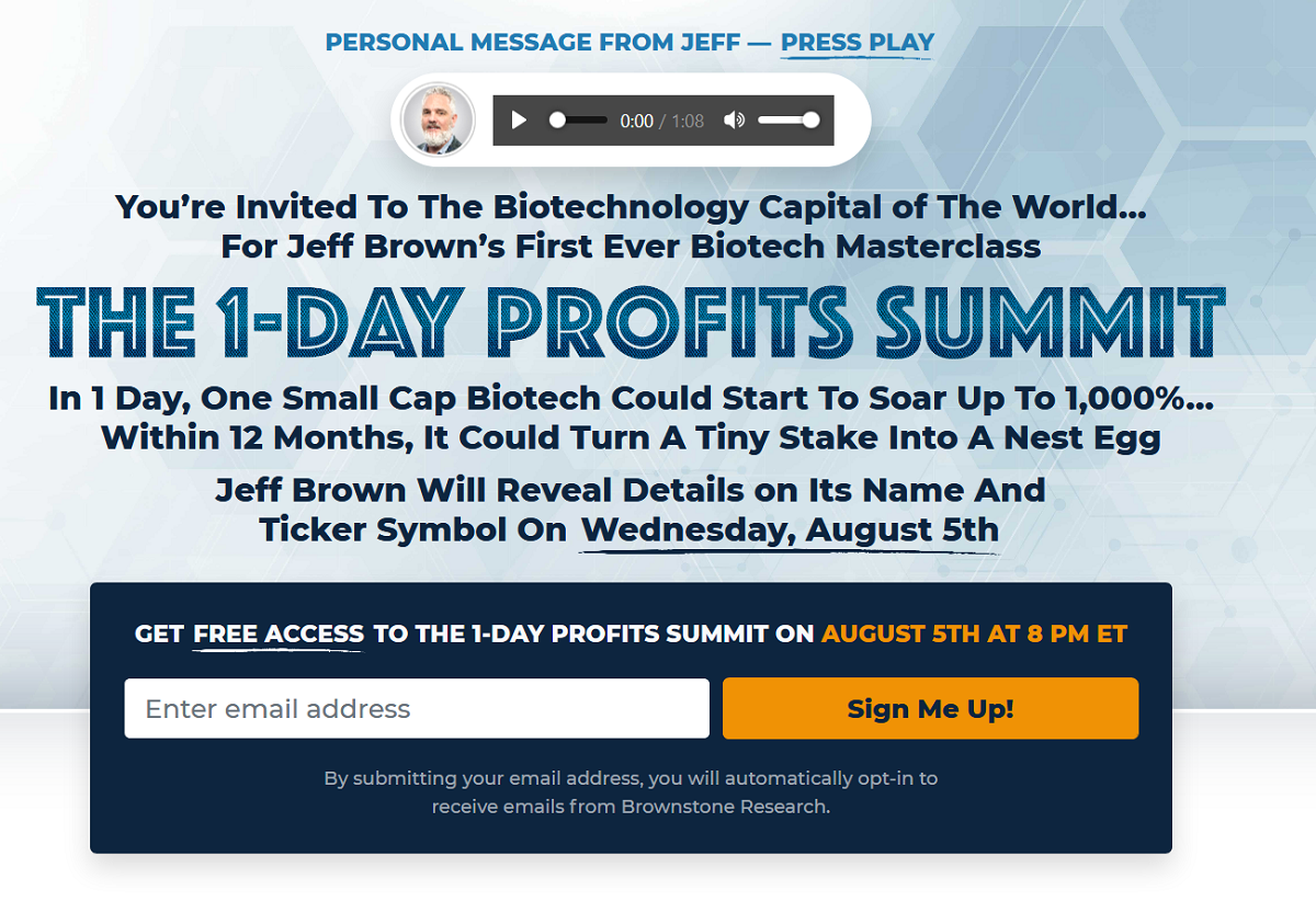 Jeff Brown's First Ever Biotech Masterclass: Jeff Brown's 1-Day Profits Summit