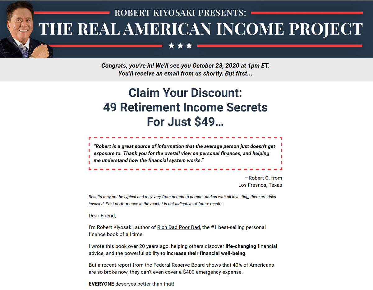 Robert Kiyosaki's Real American Income Project